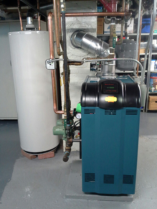 National Grid Oil to gas conversion, installation of a new Burnham boiler and an AoSmith 50 gallon hot water heater which replaced an old Peerless oil fired boiler with a domestic hot water coil.